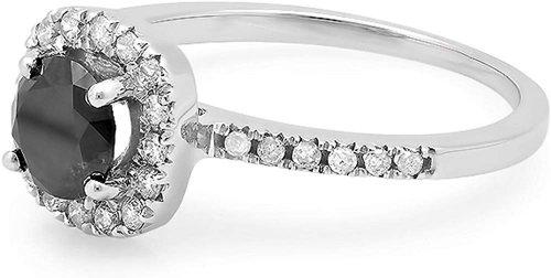 Dazzlingrock Collection 1.15ct Round Black Diamond Ring Side