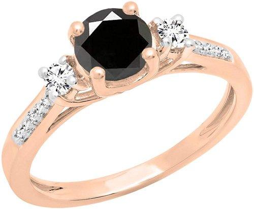Dazzlingrock Collection rose gold black diamond ring