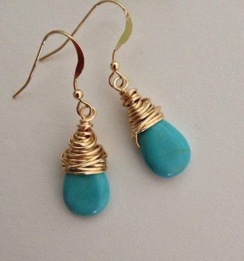 Turquoise Gold Wire Earrings