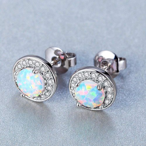 DwearBeauty White Gold Plated Stud Opal Earrings collection