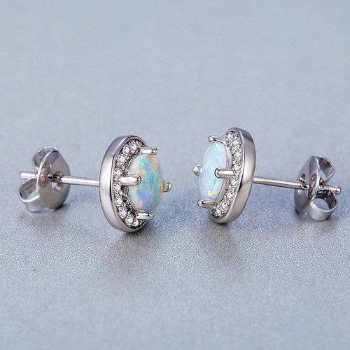 DwearBeauty White Gold Plated Stud Opal Earrings model