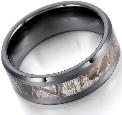 EOVE Jewelry 8MM Camouflage Hunting Mens Black Tungsten Ring