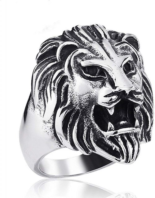 Eosig Detailed 316L Stainless Steel Roaring Lion Mens Ring