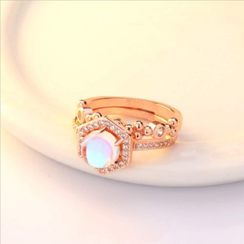 Finemall Faux Moonstone Finger Ring Collection