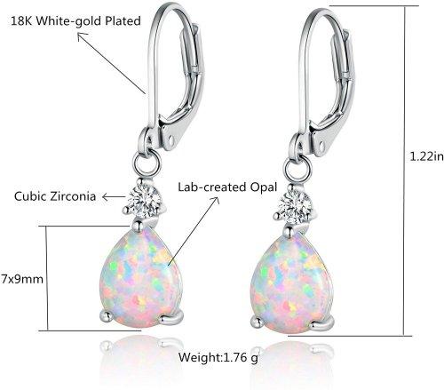 GEMSME White Gold Plated Teardrop Opal Dangle Earrings Info