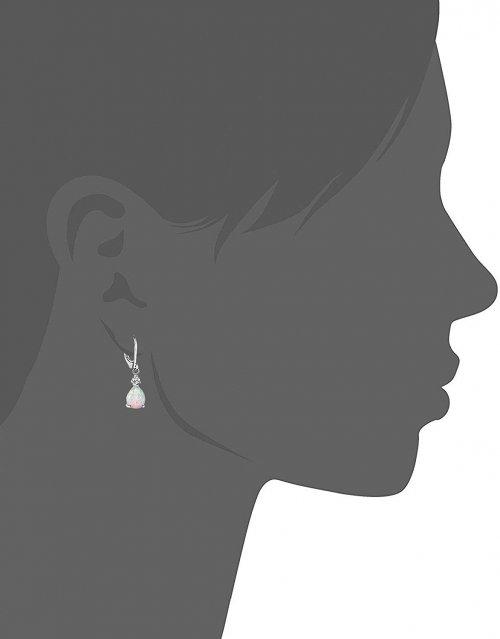 GEMSME White Gold Plated Teardrop Opal Dangle Earrings Model