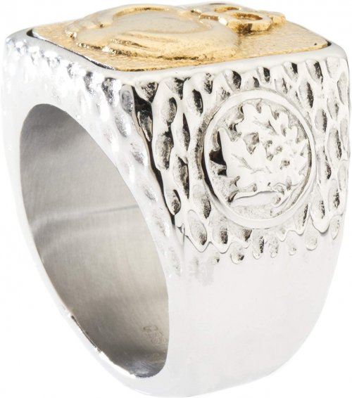 Silver ring with gold top