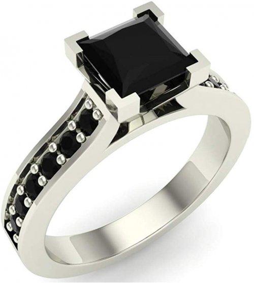 Glitz Design Silver Black Diamond Ring