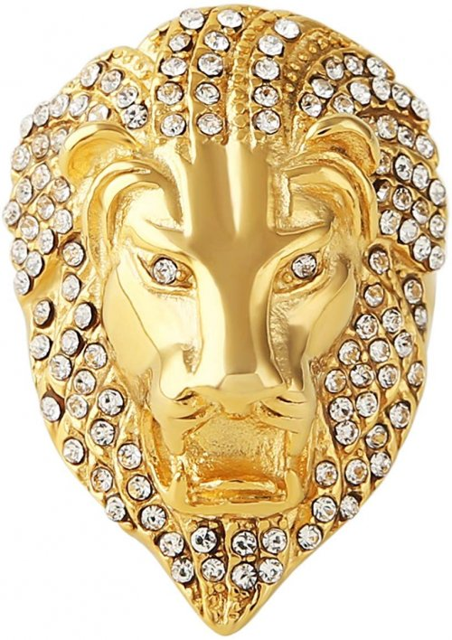 HZMAN Men's Cubic Zirconia Iced Out Lion 23K Gold Plated Stainless Steel Rings Collection