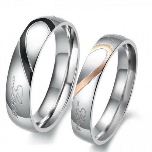 Jeulia Heart Titanium Steel Couple Rings
