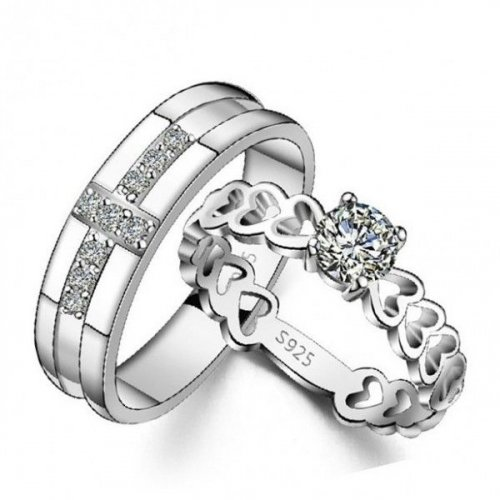 Jeulia Sterling Silver Couple Rings