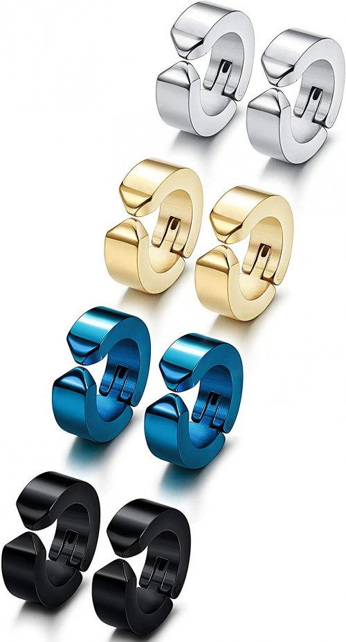 Jstyle 4 Pairs Stainless Steel Mens Womens Clip On Earrings