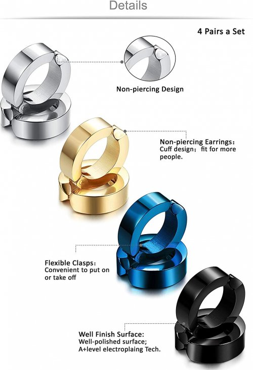Jstyle 4 Pairs Stainless Steel Mens Womens Clip On Earrings Collection