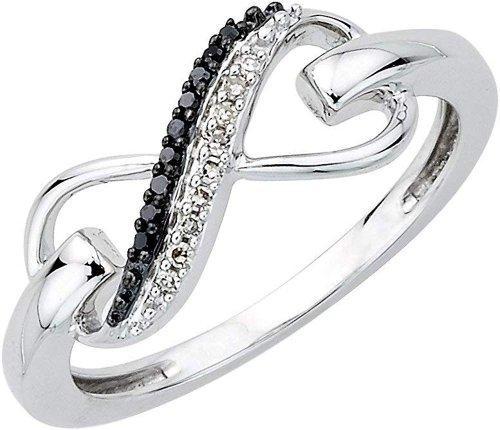 KATARINA silver black diamond ring