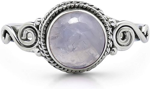 Koral Jewelry Moonstone Spiral Side Ring