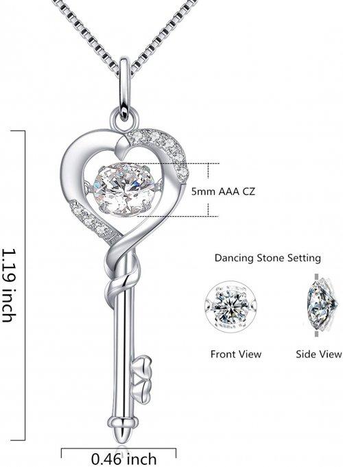 Sterling Silver Key Pendant Size