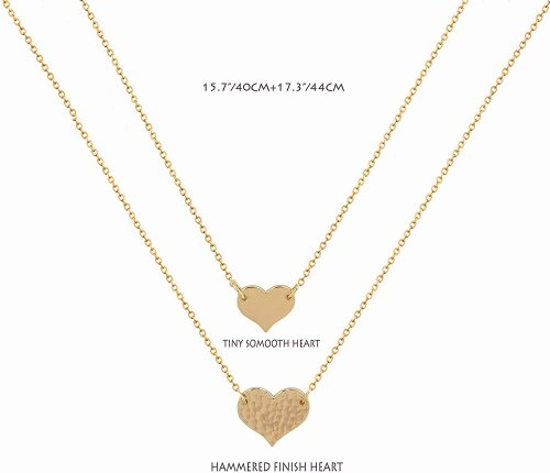 Mevecco Layered Heart Necklace Pendant Size