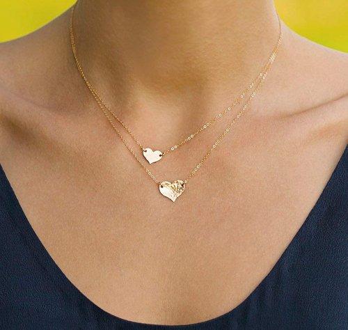 Mevecco Layered Heart Necklace Pendant Girl