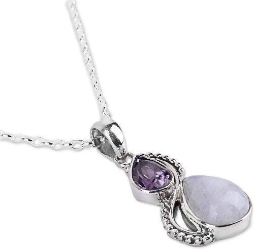 Moonstoneand purple stone pendant