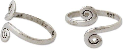 NOVICA Polished .925 Sterling Silver Spiral Adjustable Toe Ring