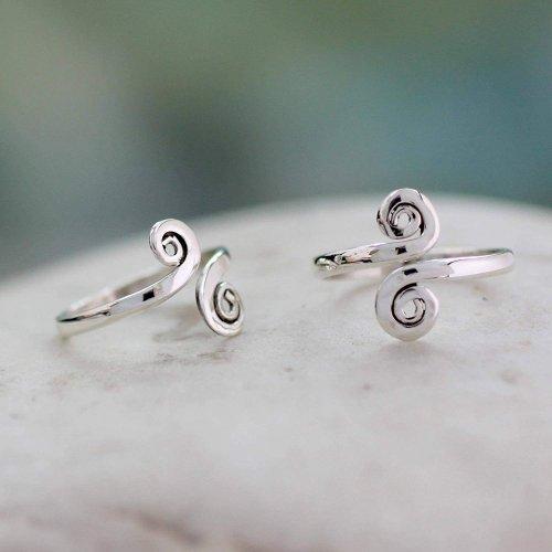 NOVICA Polished .925 Sterling Silver Spiral Adjustable Toe Ring Collection