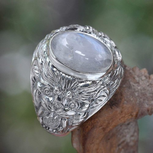 NOVICA Rainbow Moonstone .925 Sterling Silver Men's Ring Collection