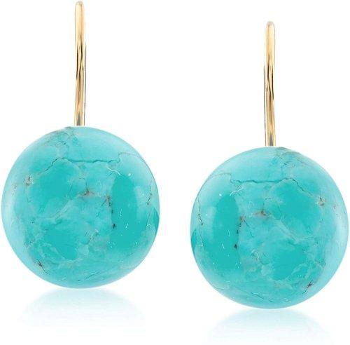 Ross-Simons Button Turquoise Drop Earrings