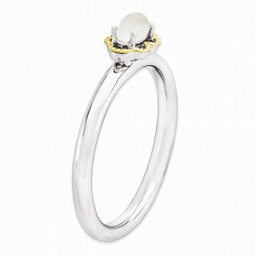 STERLING SILVER & 14K GOLD PLATED STACKABLE MOONSTONE RING Side