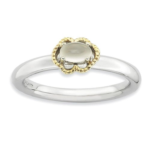STERLING SILVER & 14K GOLD PLATED STACKABLE MOONSTONE RING