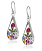 Amazon Collection Sterling Silver Pressed Flower Earrings