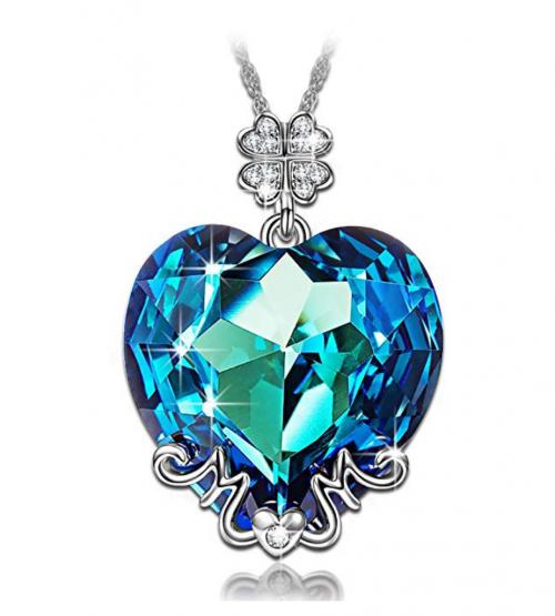 LADY COLOUR Blue Heart Lucky Clover Necklace
