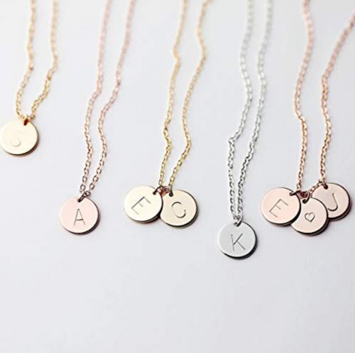 Delicate Initial Disc Necklace Rose Gold Initial Necklace Best Friend Personalized Bridesmaid Gift Women Holiday Letter Jewelry