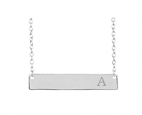 Sterling Forever - Sturdy 925 Sterling Silver Personalized Initial Bar Necklace, 16-18 Inches, Strong Lobster Clasp