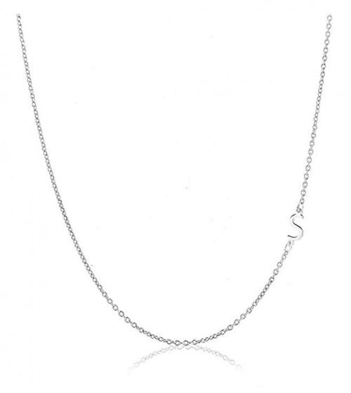 Deidreamers Sterling Silver Side Mini Initial Necklace