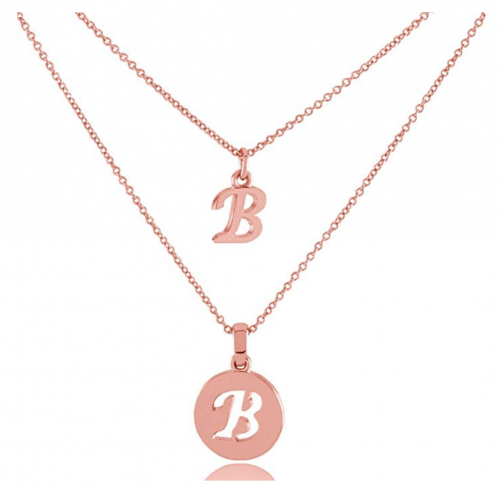 HACOOL 925 Sterling Silver Personalized Double Initial Necklace