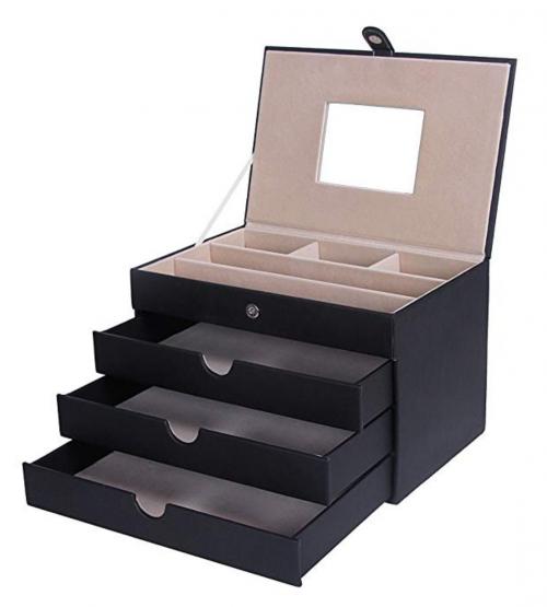 SONGMICS Jewelry Box Mirrored Jewelry Organizer Black Storage Case Drawers UJBC125C