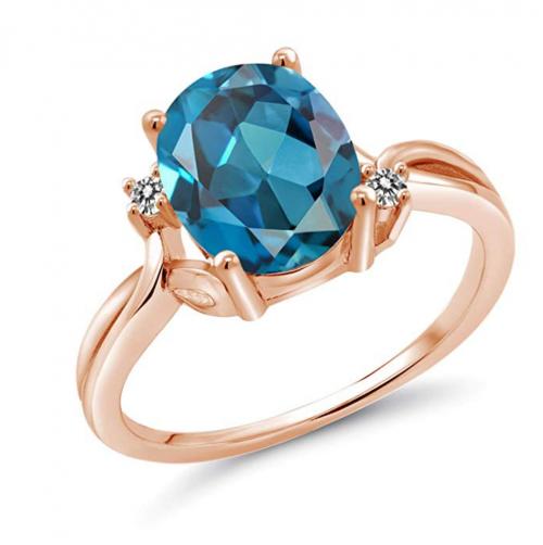 Gem Stone King 2.83 Ct Oval London Blue Topaz White Diamond 14K Rose Gold Ring