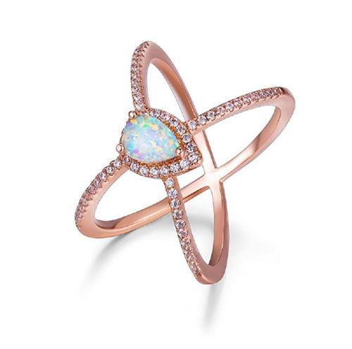 OPALBEST 18K Gold Plated Opal Criss Cross X Ring