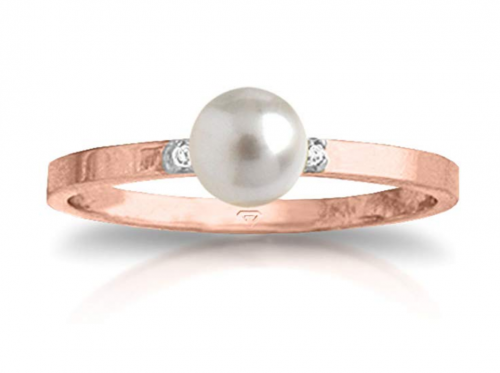 1.02 Carat 14k Solid Rose Gold Ring with Natural Diamonds and Freshwater-cultured Pearl