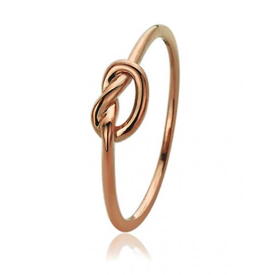 14K Rose Gold Wedding Ring Plain Gold Celtic Love Knot Promise Ring