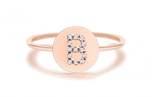 PAVOI 14K Rose Gold Plated Initial Ring Stackable Rings