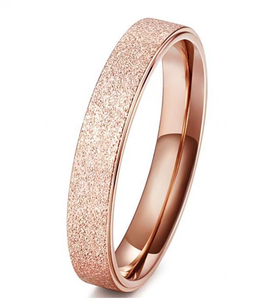 FIBO STEEL 4MM Titanium Womens Rings for Girls Rose gold Wedding Rings