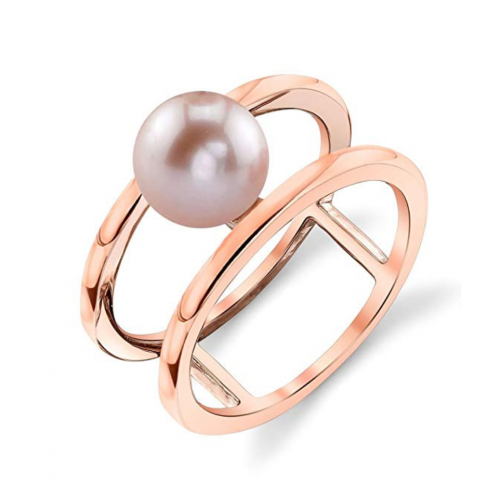 THE PEARL SOURCE 7-8mm Genuine Pink Freshwater Cultured Pearl Rose Gold Ora Ring for Women
