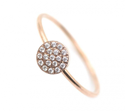 Lemon Grass 14K Rose Gold Plated Minimalist CZ Simulated Diamond Stacking Circle Disc Stackable Ring