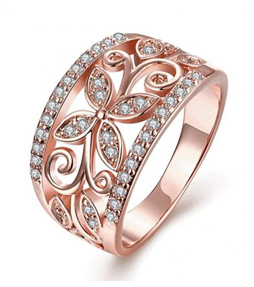 Zarbrina Women's Fashion Rose Gold Plated Cubic Zirconia Wedding Band