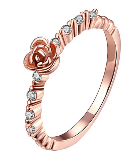 LWLH Jewelry Womens 18k Rose/White Gold Plated Roses Flower Cubic Zirconia CZ Love Eternity Ring Wedding Band