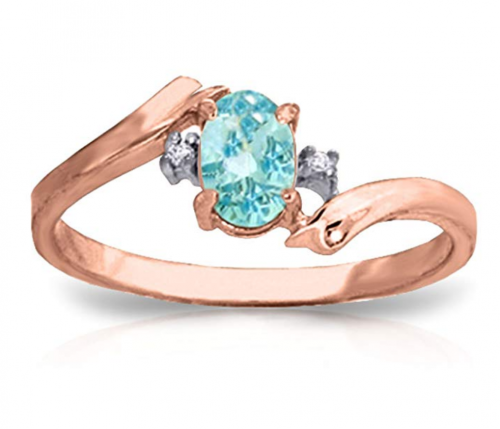 0.46 Carat 14k Solid Rose Gold Ring with Natural Diamonds and Oval-shaped Blue Topaz