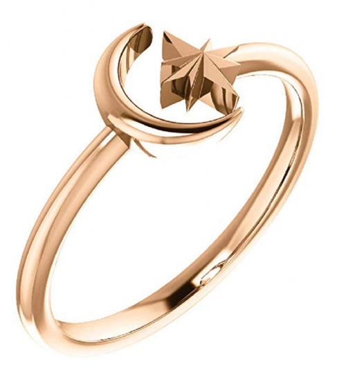Eliana and Eli 14K Rose Crescent Moon & Star Negative Space Ring