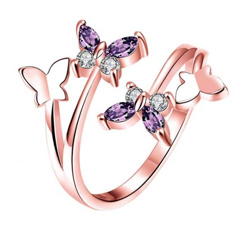 Haokan Women's Open Adjustable Butterfly Ring
