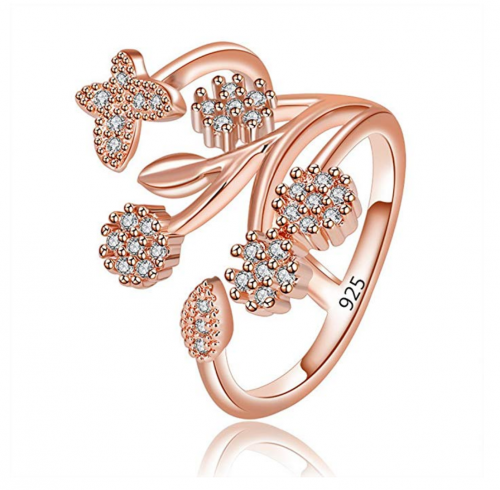 Orris Princess of Ocean Mermaid Sterling Silver Plated Blue Crystal Adjustable Free Size Open Ring
